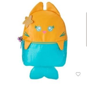 Meowgical Purrmaid cat mermaid sequin backpack